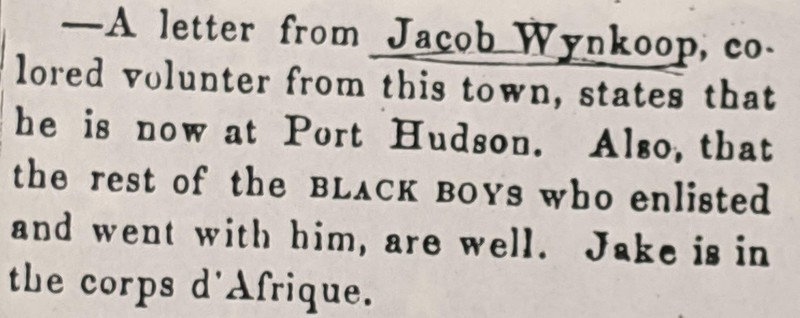Clipping NP Times re Jacob at Port Hudson