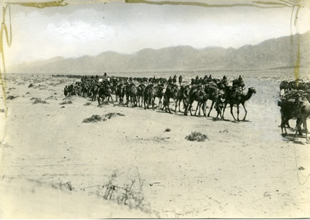 Wadi Araba, caravan, close-up. 1918.