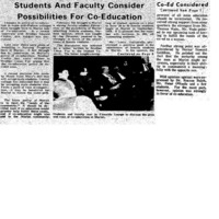 """""""Students And Faculty Consider Possibilities For Co-Education"""" 1968 FEB 6"""